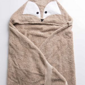 מגבת בצבע מוקה עם כובע בצורת שועל