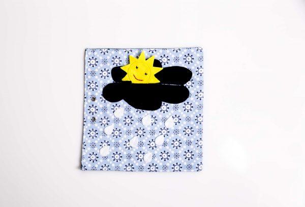 ענן שחור שבתוכו מסתתרת שמש צהובה עם פרצוף מחיך רקום. מהענן יורדות טיפות גשםוהכל על רקע תכלת.