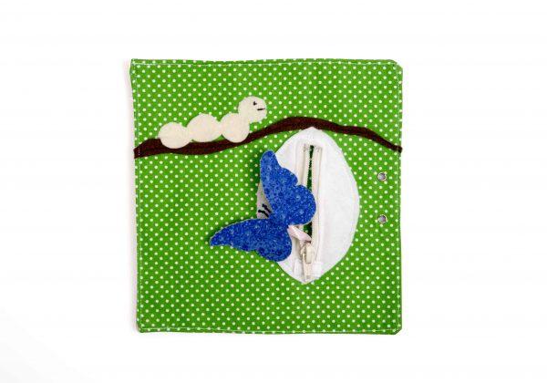 ענף לבד חום על רקע ירוק על הענף זחל לבן וגולם עם רוכסן פתוח ומתוכו יוצא פרפר כחול.