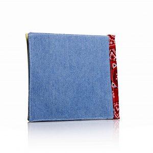 ספר בד בכריכת ג'ינס עם שדרה מבד בנדנה אדומה
