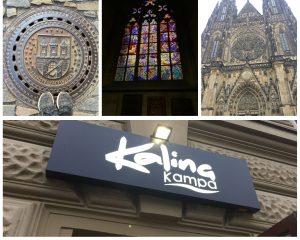 תמונת קולאז של ארבע תמונות התחתונה שלט של מסעדה בשם קלינה. עליונה ימנית-קתדרלת ויטוס הקדוש, אמצעית חלון ויטראז בקתדרלה, שמאלית מכסה ביוב ועליו סמל מצודת פראגץ