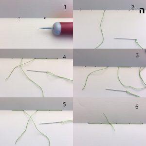 קולאז של 6 תמונות ממוספרות המראות את תהליך התפירה של מחברת.